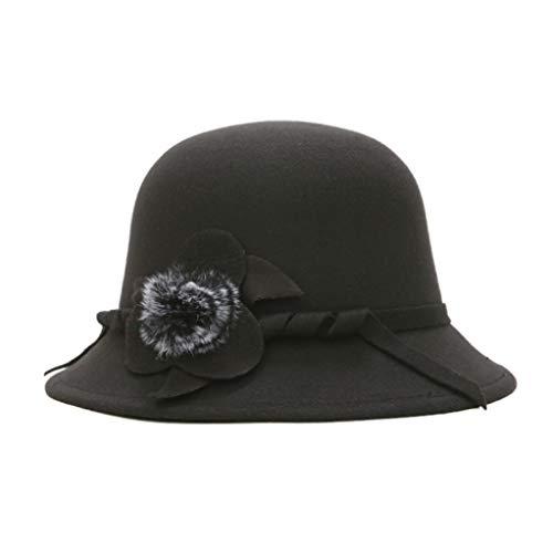 GOUNURE Wollfilz breiter Krempe Eimer Cap Cloche Hut Fedora Hüte Mode Vintage Elegante Sonnenhut Bowler Hut mit Blume -