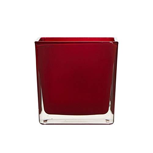 Blumentopf Würfel aus rotem Glas 14cm, Pflanzengefäß, Blumenvase quadratisch, Zylindrische Glasvase, rote Vase