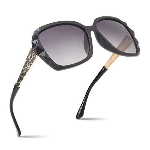 CGID Sonnenbrille polarisiert für Frauen Sonnenbrillen für Damen Oversized Polaroid Brille UV400 Schutz Dunkle Gläser 100% UV 400 Brille Klassisch mit Strasssteinen Diamantschnitt Schwarzes Gestell
