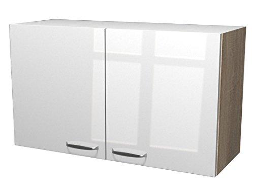 Flex-Well Exclusiv Oberschrank Valero 100 cm x 55 cm Hochglanz Weiß-Sonoma Eiche