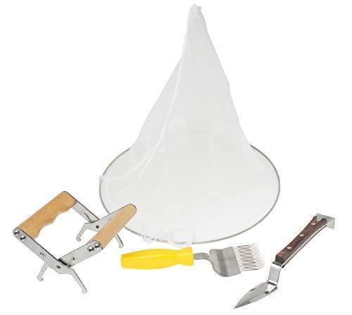 Imkado Honigernte Anfängerset (Wabenheber, Entdeckelungsgabel, Honigmesser, Spitzsieb) - die Grundausstattung für Imker, Imkereibedarf
