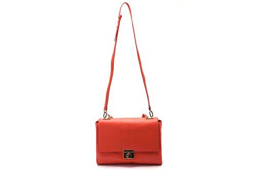 Versace-Collections-Women-Pebbled-Leather-Top-Handle-Shoulder-Handbag-Red