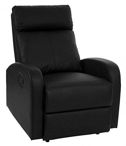 Chaise de salon avec dossiers inclinés en Polyuréthane coloris noir - Dim : H 100 x L 75 x P 96 cm -PEGANE-
