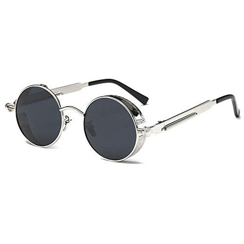 29e3072a01 Deylay Steampunk Ronda Polarizada Gafas de Sol Hombre Mujer Vintage Retro  C¨ªrculo Metal Frame