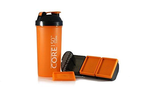 Corel 150 orange 1 Liter Protein Shaker mit 3 Speicherfächern (Bcaa Pulver Stack)