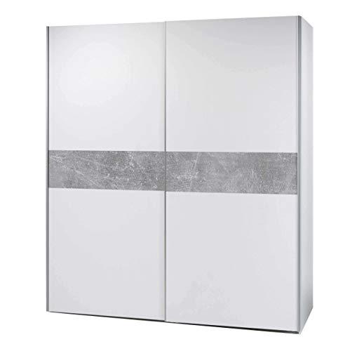 Avanti trendstore - peer - armadio con 2 ante scorrevoli, corpo in legno laminato di colore bianco con decoro in grigio cemento d'imitazione sul lato frontale, dimensioni: lap 170x195x61 cm