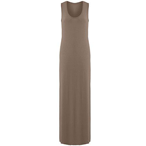 Janisramone donne maglia muscolo racer maxi gilet lungo estate vestito taglia 8-26 Mocha