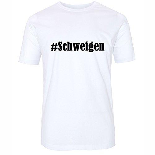 T-Shirt #Schweigen Hashtag Raute für Damen Herren und Kinder ... in den Farben Schwarz und Weiss Weiß