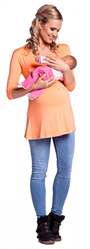 Happy Mama. Damen Umstandsmoden Top Stillshirt Lagendesign Empire-Taille. 945p Aprikose