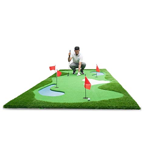 Schlagmatten Golfübungsgeräte Golf Greens Haus Golfplatz Rasen Büro Mini Putter Golf-Übungs Teppich Indoor Golf-Fitness-Matte Golf (Color : Green, Size : 150x350cm)