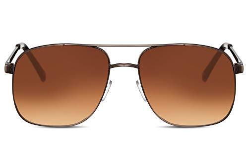 Cheapass Sonnenbrille Herren Bronze Braun Verlaufsglas UV-400 Piloten-Brille Macho Metall Männer