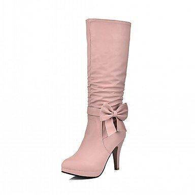 Rtry Femmes Chaussures Pu Leatherette Hiver Confort Nouveauté Bottes De Mode Bottes Bout Rond Sur Des Bottes De Genou Bowknot Pour Party & Amp; Robe De Soirée Us5.5 / Eu36 / Uk3.5 / Cn35