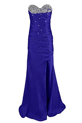 Alla moda con strass a forma di cuore TOSKANA sposa donna kraftool Satin sera lungo Party ball vestimento Blu Royal