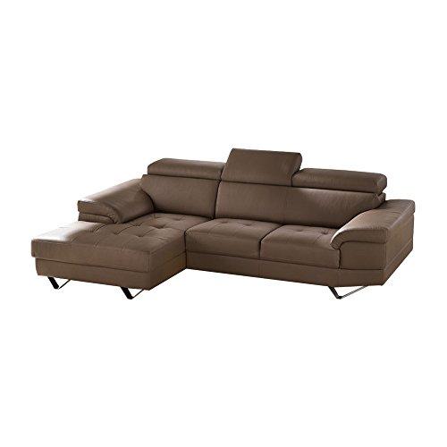 Casarreda divano angolare mod. rubino small con penisola sx ecopelle tortora