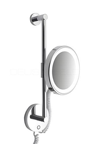 DEUSENFELD WLS100CT - Premium LED Kosmetikspiegel an Stange, CTT - stufenlos Einstellbarer Farbton von 2700-6500K, LED Touch-Control, 10x Vergrößerung, Ø20cm, verdeckte Befestigung, verchromt