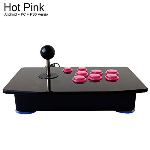 Foerteng Arcade Rocker - Arcade Game USB Stick Buttons Controller Richtungen Computer Arcade Game Control Zero Delay Joystick Control Device for PC Android Smart TV Android + Computer + PS3 hot pink