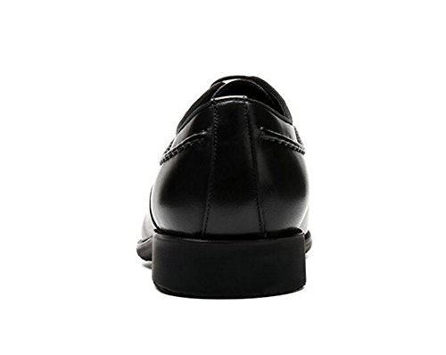 GLSHI Hommes Oxford Pointed-Toe Chaussures en cuir Costumes d'affaires Men Leather Genuine Fashion Shoes Black