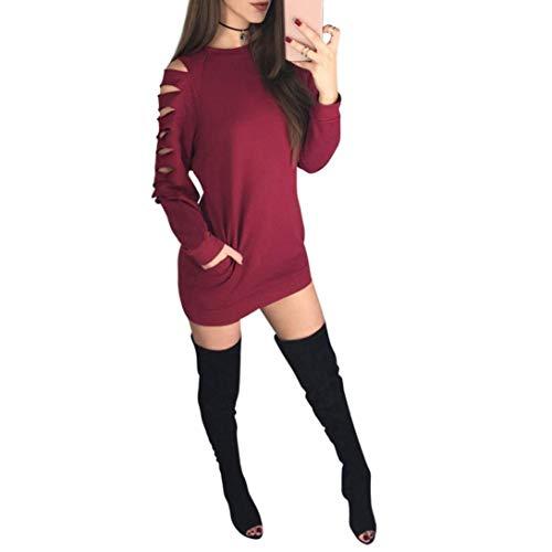 Qiusa 2017 Fashion Herbst Winter Kleid Sexy Frauen Rundhals Aushöhlen Tasche Langarm-Shirt Party Beiläufige Dünne Kleider (Farbe : Rot, Größe : ()