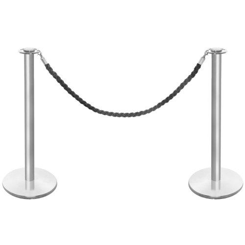 Absperrpfosten-Set aus gebürstetem Edelstahl, mit schwarzem, gedrehtem Seil