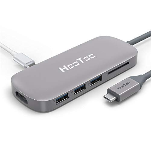 HooToo Hub USB C Adattatore USB C Hub 6 in 1, Porta Ethernet RJ45, Porta HDMI, 3 Porte USB 3.0, Lettore Schede, 100W Power Delivery, USB Tipo C per MacBook PRO 2015/2016/2017 e Chromebook Samsung S8