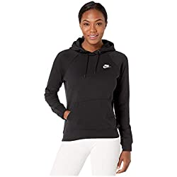 Nike W NSW ESSNTL Hoodie PO FLC Sweat-Shirt Femme, Black/White, FR : M (Taille Fabricant : M)