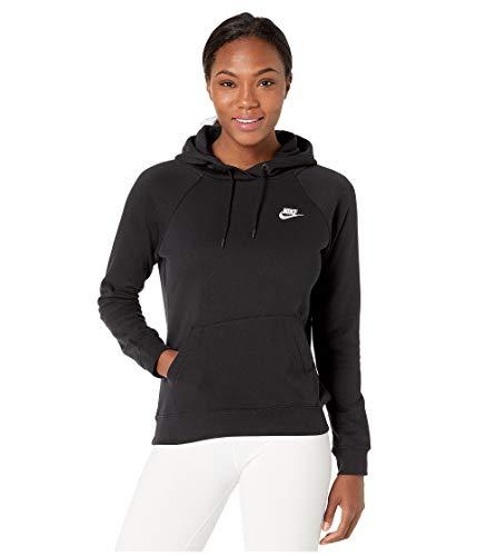 Nike Damen W NSW ESSNTL Hoodie PO FLC Sweatshirt, Black/White, M