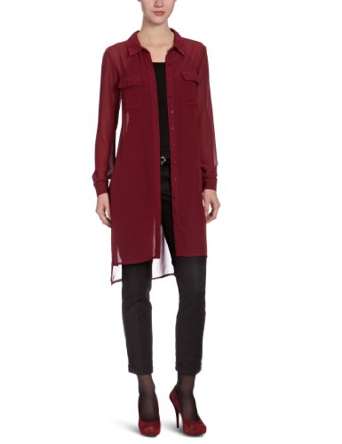 PIECES Damen Kleid (knielang) 17045607/RUSA SHOP LS SHIRT DRESS Rot (Burgundy)