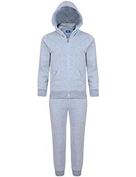 Kids Plain 2 Piezas chándal Polar Con Capucha Top Pantalones Deportivos Tamaños 3-14 Años