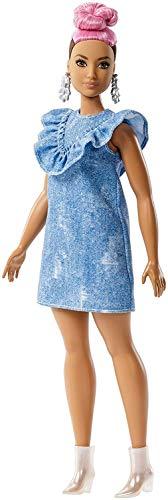 ionistas Puppe, mit pinkem Dutt, im Jeanskleid ()