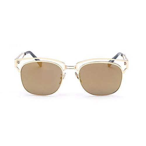 Yiph-Sunglass Sonnenbrillen Mode Unisex Metallrahmen farbige Linse UV-Schutz Sonnenbrillen für Männer, Frauen. (Farbe : Gold)