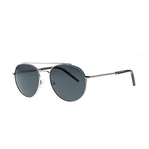 SUNGLASSES Neue Metall Polarisierte Sonnenbrille Männer Klassische Schädel Spiegel Sonnenbrille Coole Fahrbrille (Farbe : Silver Box ash)