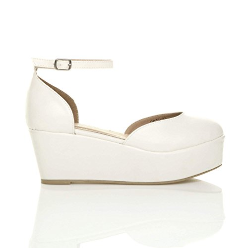 Donna tacco zeppa medio flatform piattaforma décolleté sandali scarpe taglia Opaco bianco