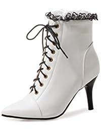 Stivali da Donna PU Moda Puntata Stivaletti Tacco Alto Scarpe Femminile con  Cerniera Disegno Pizzo Sexy 0d91127d87d