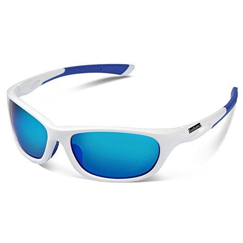 Duduma Gafas de Sol Deportivas Polarizadas Perfectas Para Esquiar Golf Correr Ciclismo con el Marco Du646 Irrompible Para Hombre y Para Mujer (marco blanco con lente azul)