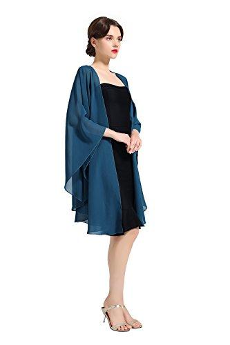 BEAUTELICATE Chiffon Schal Stola Bolero Damen Für Abendkleid Festlich Hochzeit Braut Frühling Sommer Jacke Blaugrünes Beige Damen-jacke