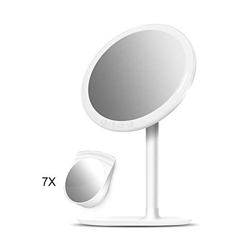 MAGO-Kosmetikspiegel Luz Luces Luminoso Espejo Maquillaje con Aumento 7X Espejo Cosmético 180° Rotación...