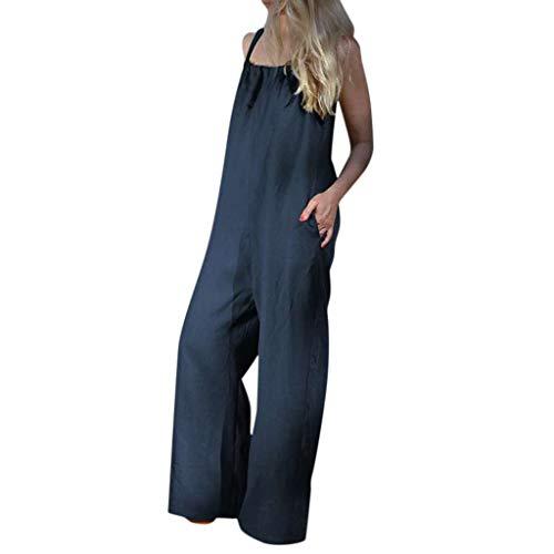 Yuwegr Damen Jumpsuit Plus Size Ärmellose Overall Einfarbig Loose Breites Bein Playsuit Sommer Casual Lange Romper 2 Farbe S-5XL(Blau,XXXXXL)
