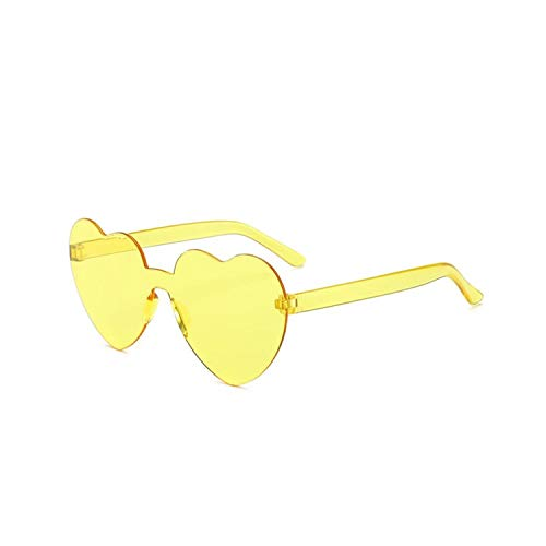 Sportbrillen, Angeln Golfbrille,New Fashion Cute Sexy Retro Love Heart Rimless Sunglasses Women Luxury Brand Designer Sun Glasses Eyewear Candy Color UV400 Yellow