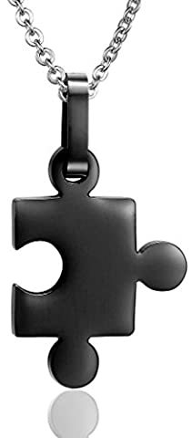 Women Love Autism Awareness Puzzle Stainless Steel Pendant Necklace Black
