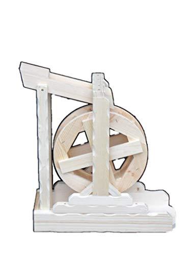 Arbrikadrex Wasserrad Mühlenrad Wassermühle Bachlauf Vollholz Handarbeit Garten Deko voll funktionsfähig Premium (Premium XXL)