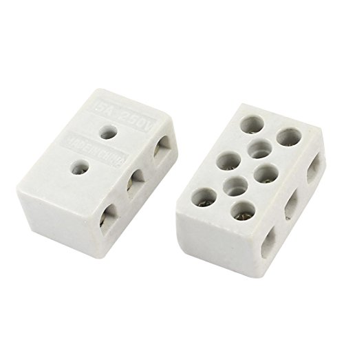 Ceramic Terminal Block (2PCS 2W8H High Temp Resistant Ceramic Terminal Block 8Loch 15A 250V)