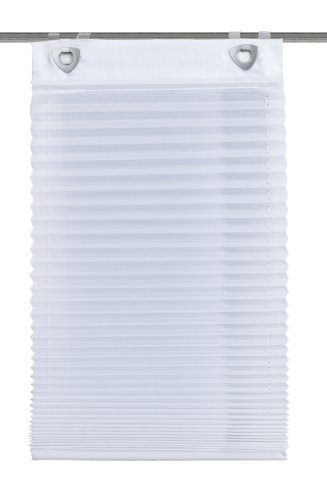 Home Fashion 91410-601 Plisseerollo, mit Haken und Ösen, Uni, Dekostoff-Seidenoptik, weiß / 140 x 60 cm