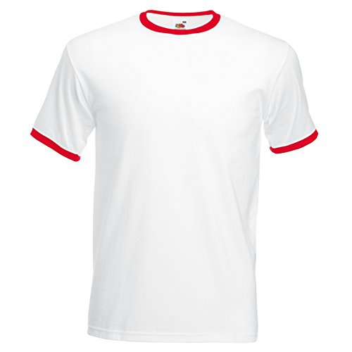 Fruit of the Loom Herren T-Shirt Mehrfarbig - White / Red