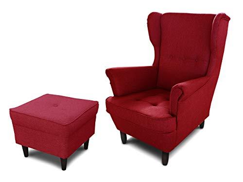 Ohrensessel Sessel King - Lounge Sessel mit Armlehnen - Retro Stuhl aus Stoff mit Holz Füßen - Polsterstuhl für Esszimmer & Wohnzimmer (Rot (Inari 60), mit Hocker)