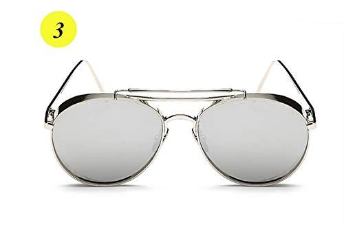 FBNSJA Gehobene Runde Dicke Legierung Rahmen Sonnenbrille Männer Frauen Name Marke Mode Stern Stil Spiegel Objektiv Sun BrillenFarbe 3
