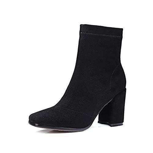 HOESCZS Echtes Leder Damen Stiefel Concise Square Toe Ankle Zipper Boot Dicke Schuhe mit hohen Absätzen Frau Herbst Winter Stiefel 7.5 Schwarz (Boots Black Toe Square)