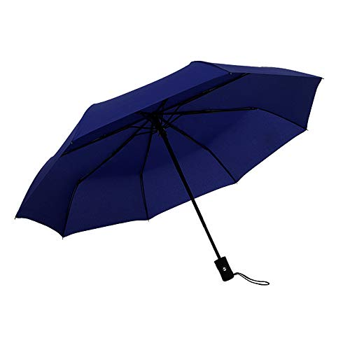 JUNDY Regenschirm, Taschenschirm, Kompakter Falt-Regenschirm, Klein, Leicht, Reiseschirm Automatikschirm einfarbig 8 Knochen dreifach farbig10 98cm