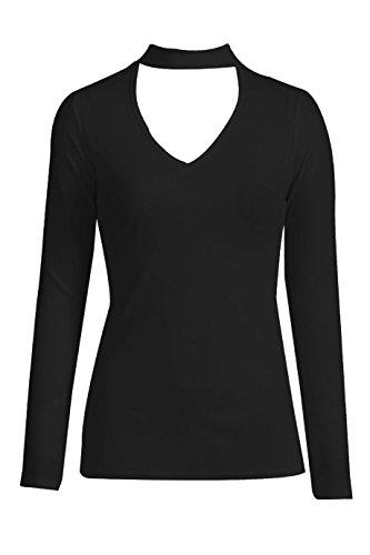 Collo a V a maniche lunghe camicetta top, Black, 8 Black