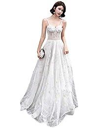 Vestido de novia Largo de Encaje de Las Mujeres, Vestido de Dama de Honor Gris