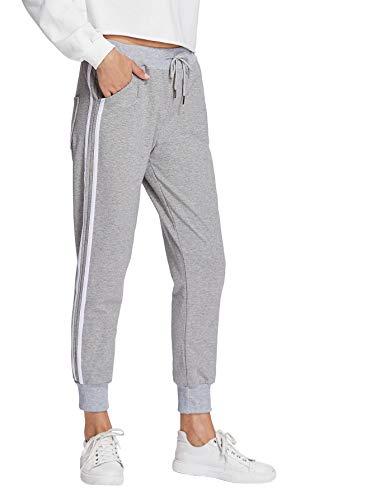 DIDK Damen Hosen Sporthose Casual Streifen Sweathose Elastischer Bund Jogginghose mit Taschen Hellgrau M